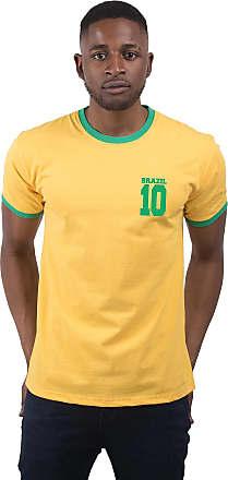 Bang Tidy Clothing Mens Brazil 10 Football T Shirt Yellow L
