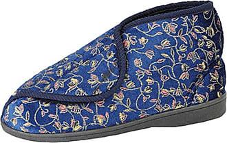 Zedzzz Womens/Ladies Geraldine Touch Fastening Floral Bootee Slippers (7 UK) (Navy Blue)