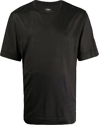 Fendi Camiseta de seda com logo bordado - Preto
