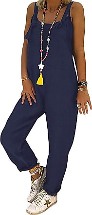 TOMWELL Womens Dungarees Loose Oversized Overall Strap Sleeveless Long Playsuit Jumpsuit Trousers Pants Blue UK 18