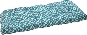 Pillow Perfect Outdoor Hockley Wicker Loveseat Cushion, Teal