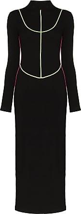 Kirin Vestido longo com contraste - Preto