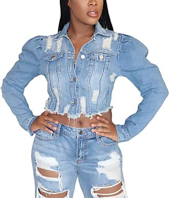 Saoye Fashion Short Jeans Coat Ladies Classic Washed Distressed Holes Denim Jackets Feast Clothing Spring Autumn Fashion Versatile Long Sleeve Denim Outerwear Cardi