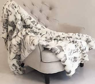 Plutus Brands Ivory Rabbit Faux Fur Handmade 60W x 90L Throw Gray