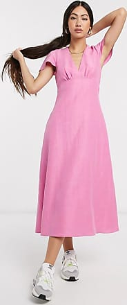Whistles frill shoulder midi dress in pink