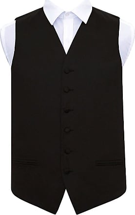DQT Men Plain Wedding Waistcoat Cravat and Hanky