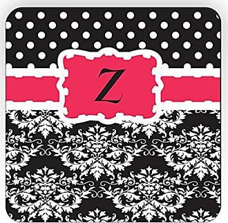 Rikki Knight Rikki Knight Initial Z Damask Dots Design Square Fridge Magnet, Pink/Black