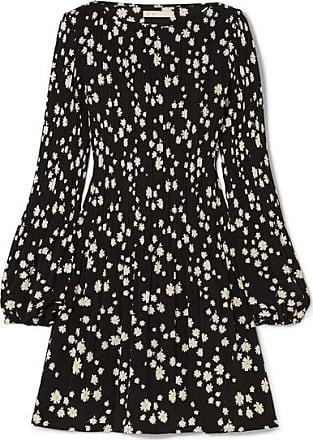 Maje Pleated Floral-print Crepe Mini Dress - Black