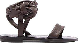 ÁLVARO GONZÁLEZ Aroa Wraparound Leather Sandals - Womens - Dark Brown