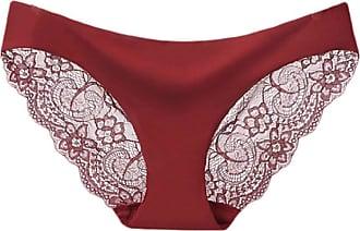 Abetteric Calcinha feminina Abetteric de renda macia, sem aro, de algodão, cintura baixa, pacote com 3, Wine Red, US X-S=China S