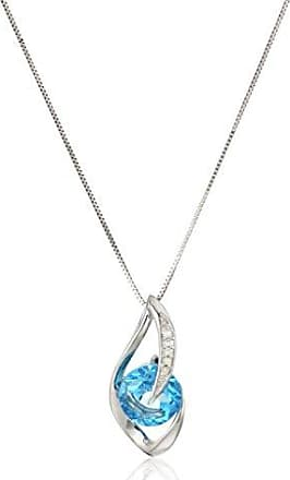 Amazon Collection 10k White Gold Swiss-Blue-Topaz and Diamond Accent Flame Pendant Necklace, 18