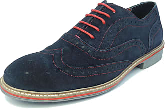 Roamers Mens Suede Brogues Shoes Navy Lace Up Real Leather Blue Red Size 12