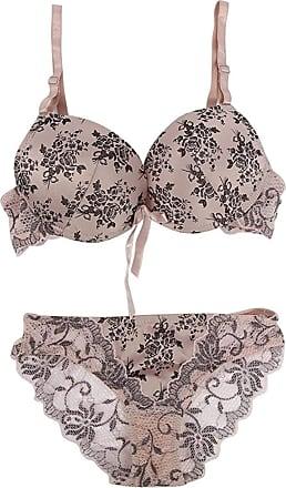 Uzi Nyc Women Floral Lace Bra Set Lingerie Underwear Push Up Padded Bra,Beige,36B