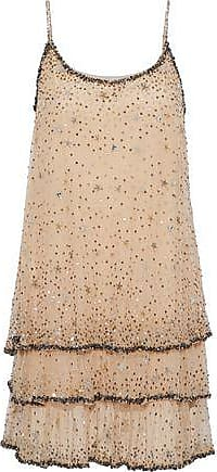 Joie Joie Woman Geddy Tiered Embellished Tulle Mini Dress Beige Size S