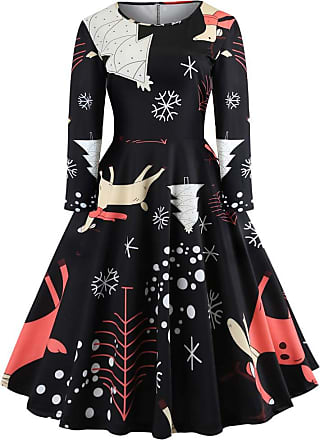 NPRADLA Christmas Women Winter 2020 Long Sleeve O Neck Printing Vintage Gown Evening Party Dress