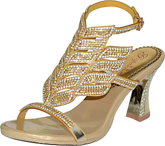 Find Nice Ladies Fashion Rhinestones Wedding Dress Bride Comfort Evening OL Slingback Party Chunky Sandals Gold 4.5 UK