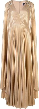 Marchesa pleated cape detail kaftan gown - GOLD
