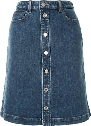A.P.C. Saia jeans Therese com abotoamento - Azul