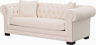 Dekoria Sofa Classic Chesterfield Velvet Cream 3-Sitzer