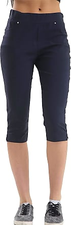21Fashion Womens Soft Fitted Three Quarter Shorts Ladies Sports Gym Wear Trouser Pants Navy UK 10
