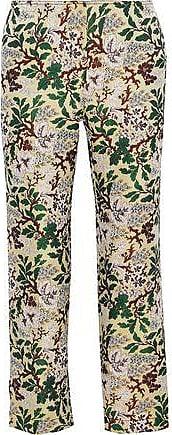 Philosophy di Lorenzo Serafini Philosophy Di Lorenzo Serafini Woman Cropped Floral-jacquard Straight-leg Pants Pastel Yellow Size 46