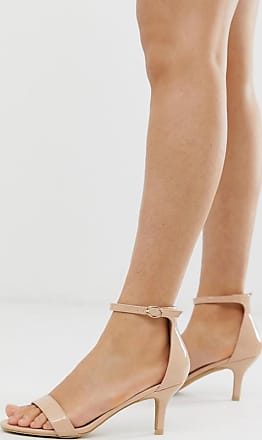 Glamorous blush barely there kitten heeled sandals-Pink