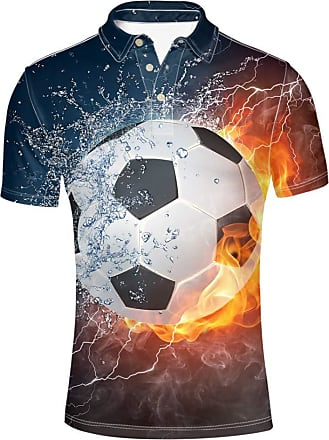 Coloranimal Summer Turn Down Collared Fitness Polos for Adult Men Cool Fire 3D Football Printed Hip Pop Shirts