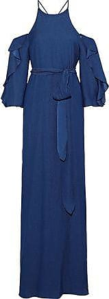 Halston Heritage Halston Heritage Woman Cold-shoulder Belted Seersucker Gown Navy Size 2