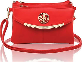 LeahWard Womens Three Zipper Compartment Cross Body Bags 111 (Poppy Red 111)