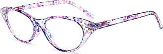 Inlefen Womens Reading Glasses Spring Hinge Ladies Vintage Cat Eye Readers Eyeglasses with Rhinestones(Purple,+3.00)
