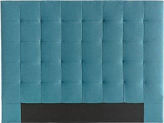 Miliboo Tête de lit capitonnée en tissu bleu canard 140 cm HALCION