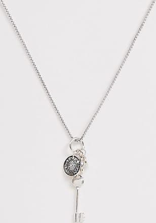 Icon Brand Catenina con ciondoli a chiave e moneta argento