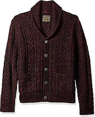 Lucky Brand Mens Cable Knit Cardigan Sweater, Burgundy, S