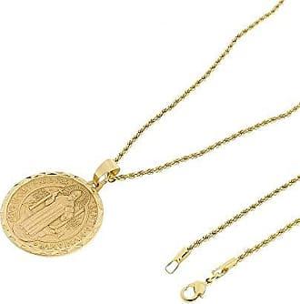 Tudo Joias Medalha São Bento Com Corrente Elo Baiano 2mm e 60cm Folheado a Ouro 18k