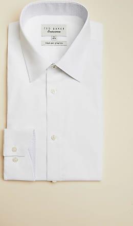 Ted Baker Endurance Plain Cotton Shirt in White POPPAIE, Mens Clothing