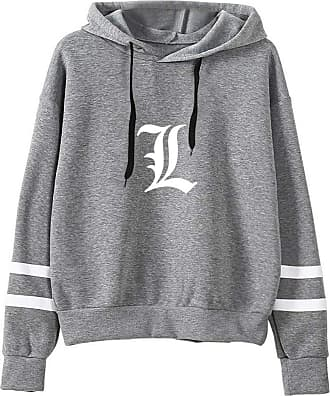 Haililais Death Note Pullover Pullover Sweatshirt Fashion Sweater Outerwear Adult Casual Sports Warm Wild Long Sleeve Men and Women Unisex (Color : Gray02, Size