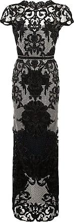 Marchesa appliquéd embroidered column gown - Black