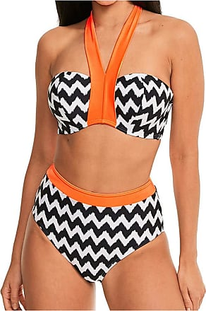 Figleaves Womens Juno Luxe Underwired Top Size 38D in Black/White/Orange