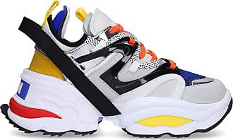 c7751ce0552715 Dsquared2 Sneaker high THE GIANT Kalbsleder Polyester PVC Logo blau gelb  orange weiß