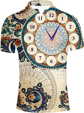 Hugs Idea Vintage Clock Pattern T-Shirt Summer Short Sleeve Collar Button Down Polo Shirt for Men