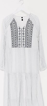 Y.A.S. Tall maxi dress with embroidery in textured white-Multi