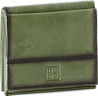 DuDu Portafoglio uomo in pelle con portamonete esterno e porta carte di credito DUDU Verde
