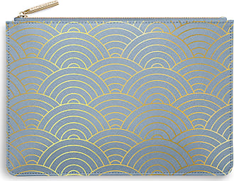 Katie Loxton Wave Print Womens Medium Vegan Leather Clutch Perfect Pouch Metallic Blue