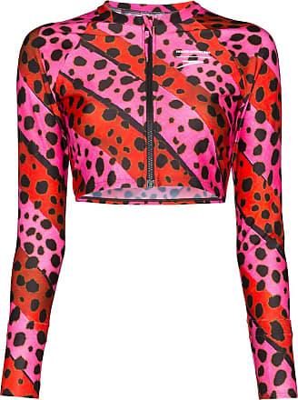 House Of Holland Sutiã de biquíni com listras e estampa de leopardo - Rosa