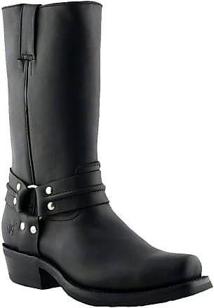 Grinders Renegade Hi Unisex Leather Matt Long Cowboy Black Boots UK Size 3-12