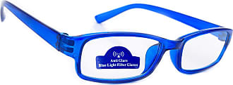 morefaz Women Anti Glare Slim Reading Glasses +0.50 +0.75 +1.0 +1.5 +2.0 +2.5 Blue Light Filter Computer Gaming TV Radial (2.00 Anti Glare, Blue)