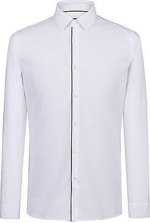 HUGO BOSS Extra Slim-Fit Hemd aus bügelleichter Baumwolle mit roten Paspeln 256cfa6c87