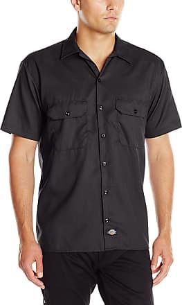 Dickies Mens Short-Sleeve Flex Twill Work Shirt - Black - Large