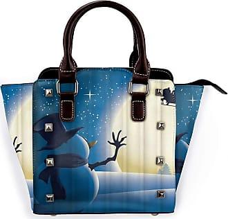 Browncin Winter Snowman Christmas Santa Claus On Sleigh Snow Reindeer Moon Detachable Fashion Trend Ladies Handbag Shoulder Bag Messenger Bags