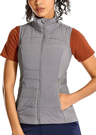 CRZ YOGA Womens Athletic Padded Vest Lightweight Full-Zip Sleeveless Jackets with Pockets Lunar Rock 12